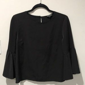 Topshop Black Bell Sleeve Blouse